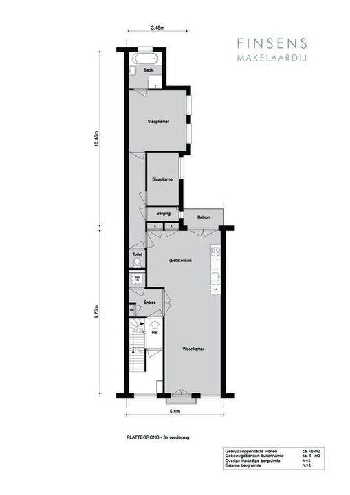 Potgieterstraat 20 -3, Bovenwoning in Amsterdam Plattegronden-0