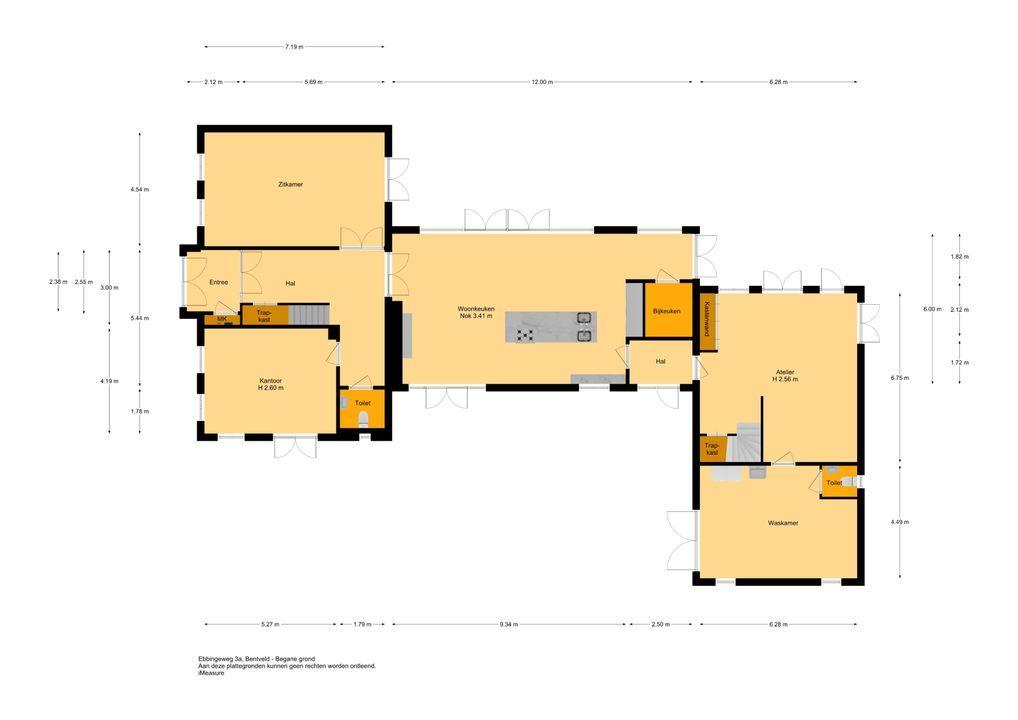 Ebbingeweg 3 - 3A, Bentveld plattegrond-