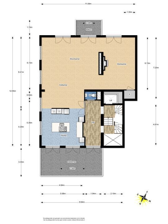 Arentsburghlaan 1 B, Voorburg floorplan-1