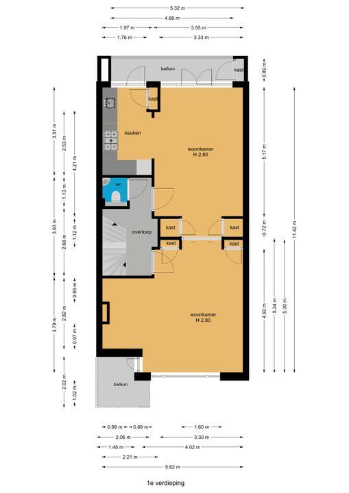 Laan van Nieuw Oosteinde 195, Voorburg floorplan-1