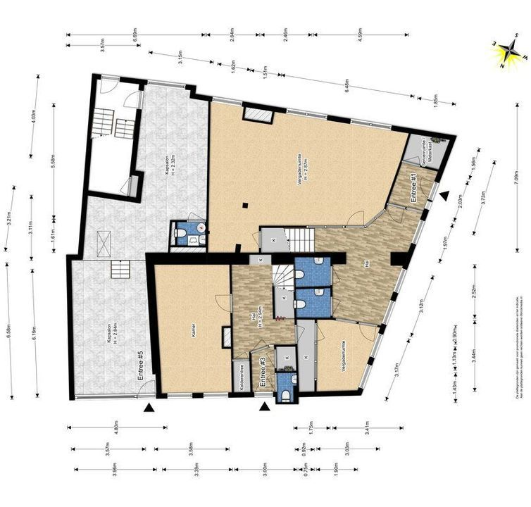 Achterom 1 3 en 5, Delft plattegrond-0