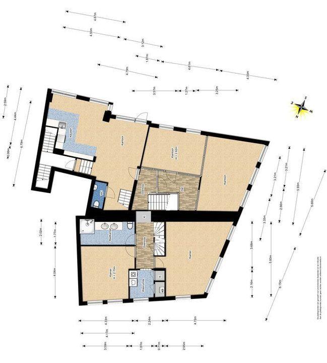 Achterom 1 3 en 5, Delft plattegrond-1