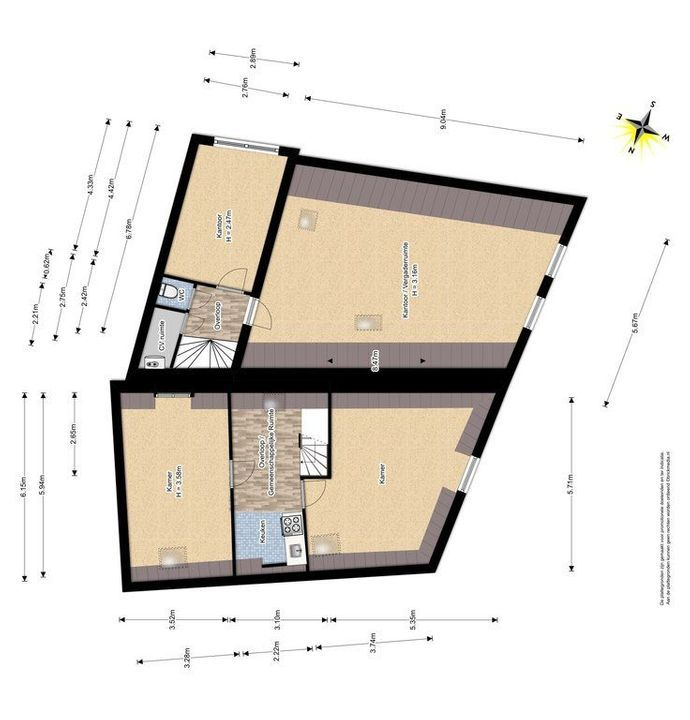 Achterom 1 3 en 5, Delft plattegrond-2