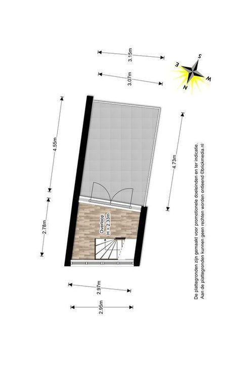Achterom 1 3 en 5, Delft plattegrond-3