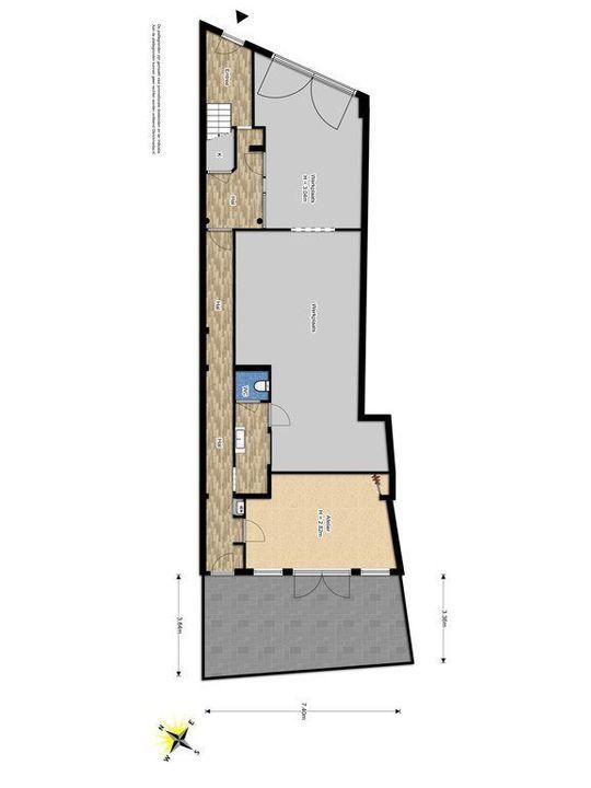Achterom 38, Delft plattegrond-0