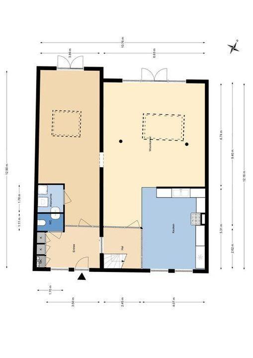 Bagijnhof 116, Delft plattegrond-1