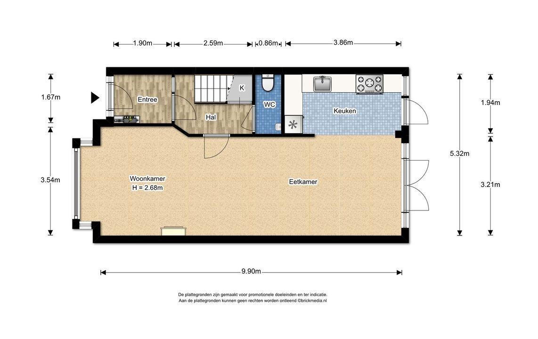 Laan van Overvest 12, Delft plattegrond-1