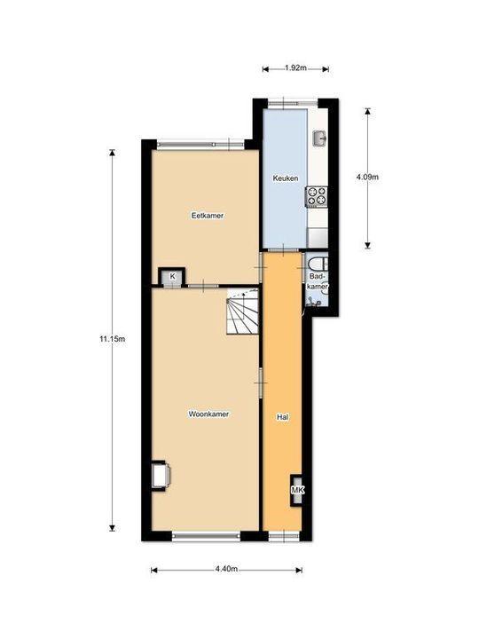 Nieuwe Langendijk 30, Delft plattegrond-1