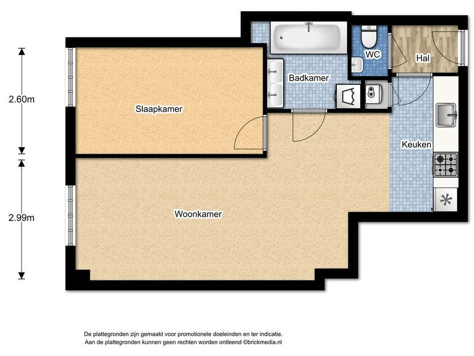 Kromstraat 28 J, Delft plattegrond-0