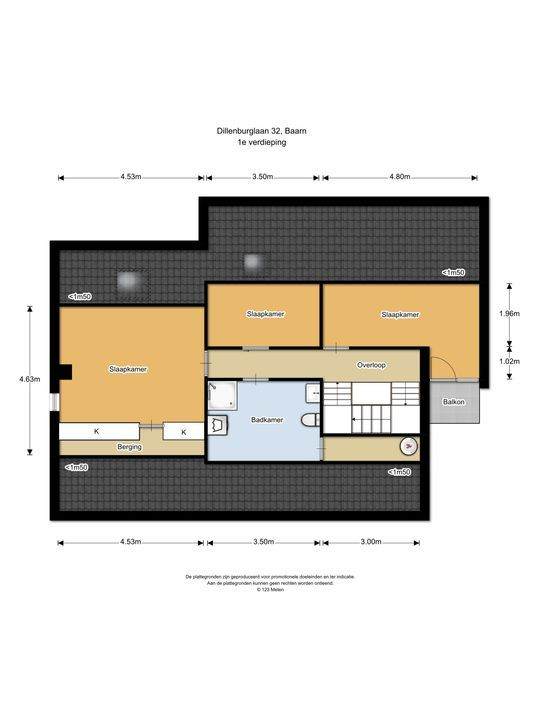 Dillenburglaan 32, Baarn plattegrond-