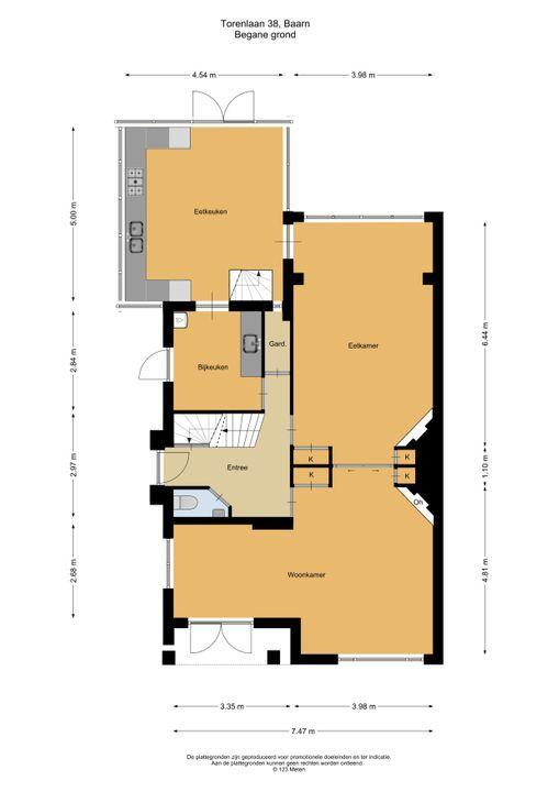 Torenlaan 38, Baarn plattegrond-