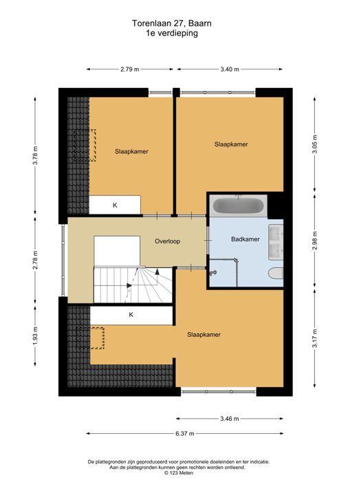 Torenlaan 27, Baarn plattegrond-