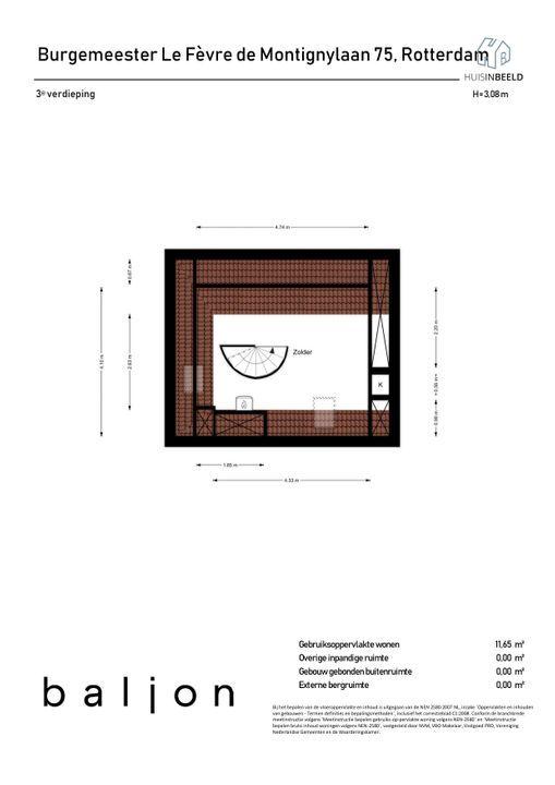 Burgemeester Le Fevre de Montignylaan 75, Rotterdam plattegrond-
