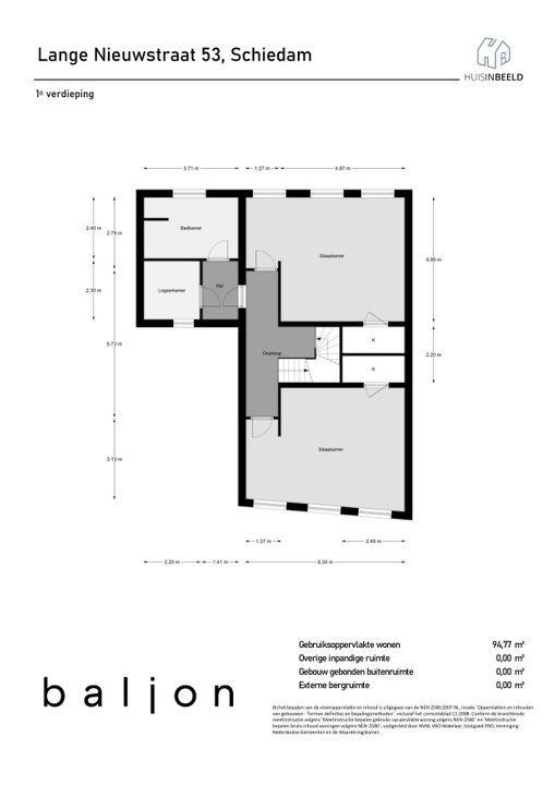 Lange Nieuwstraat 53, Schiedam plattegrond-