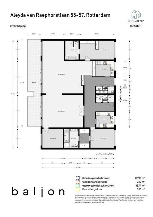 Aleyda van Raephorstlaan 55 -57, Rotterdam plattegrond-