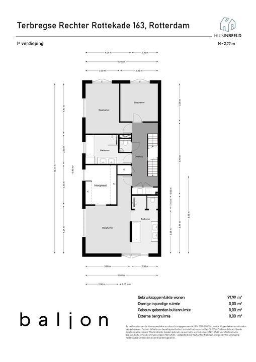 Terbregse Rechter Rottekade 163, Rotterdam plattegrond-