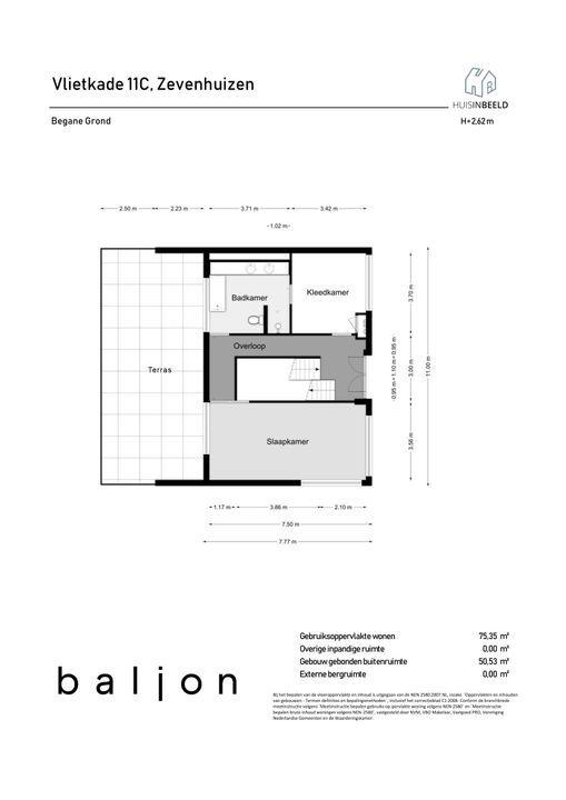Vlietkade 11 C, Zevenhuizen plattegrond-