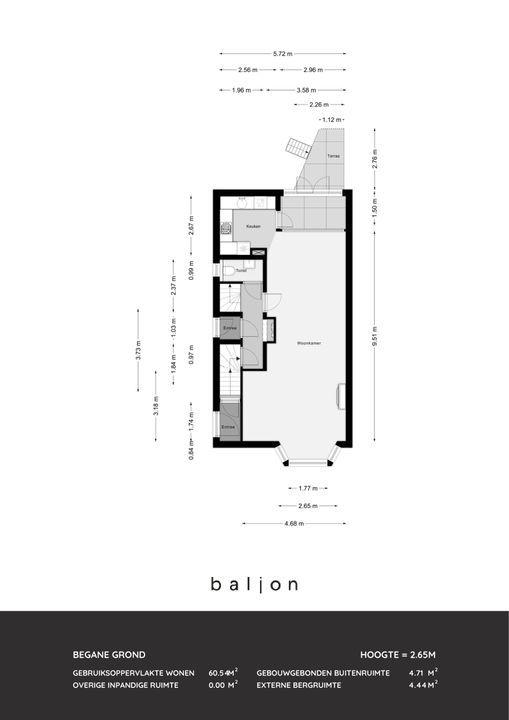 Oude Raadhuislaan 65 AB, Rotterdam plattegrond-