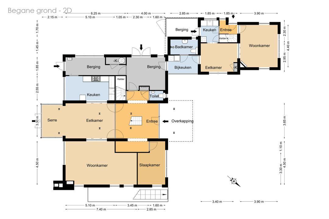 Huningspaed 7, Oudemirdum plattegrond-
