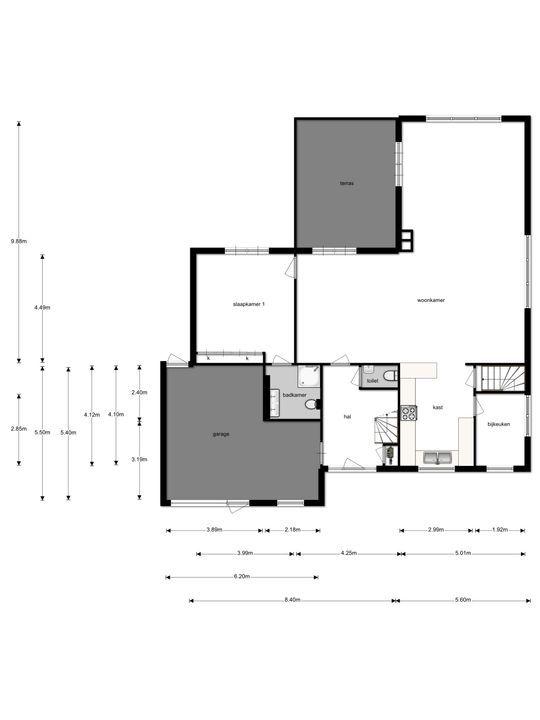 Dorpsstraat 25, Zevenhuizen plattegrond-