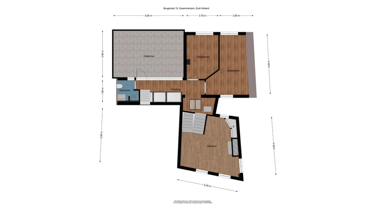 Brugstraat 10, Zwammerdam plattegrond-